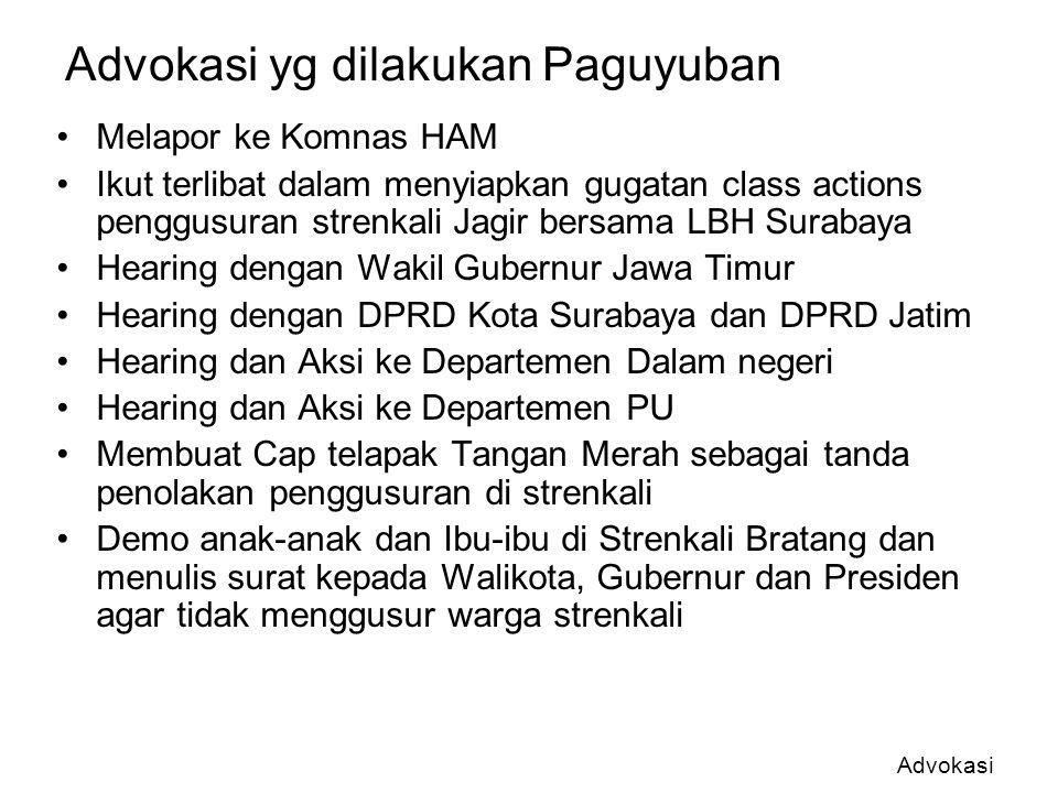 Advokasi yg dilakukan Paguyuban Melapor ke Komnas HAM Ikut terlibat dalam menyiapkan gugatan class actions penggusuran strenkali Jagir bersama LBH Sur