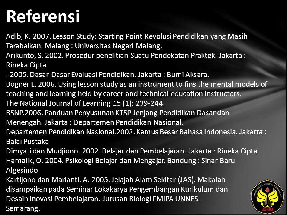 Referensi Adib, K. 2007. Lesson Study: Starting Point Revolusi Pendidikan yang Masih Terabaikan. Malang : Universitas Negeri Malang. Arikunto, S. 2002