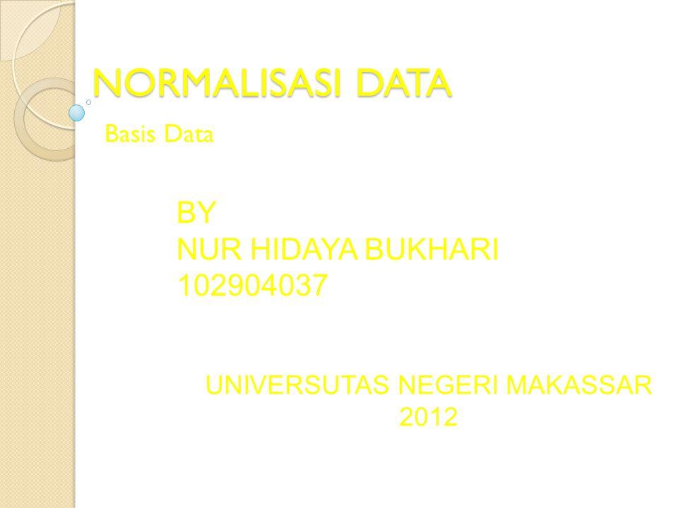 NORMALISASI DATA Basis Data BY NUR HIDAYA BUKHARI 102904037 UNIVERSUTAS NEGERI MAKASSAR 2012