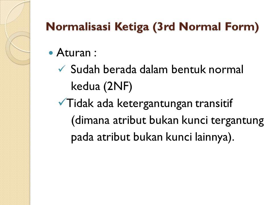Normalisasi Ketiga (3rd Normal Form) Aturan : Sudah berada dalam bentuk normal kedua (2NF) Tidak ada ketergantungan transitif (dimana atribut bukan ku