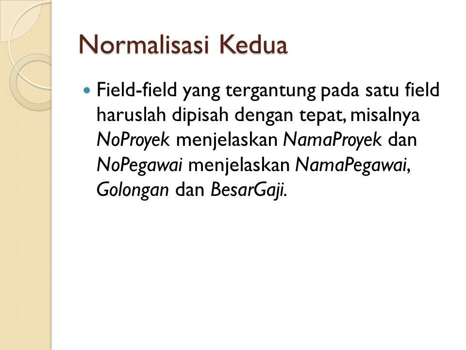 Normalisasi Kedua Field-field yang tergantung pada satu field haruslah dipisah dengan tepat, misalnya NoProyek menjelaskan NamaProyek dan NoPegawai me