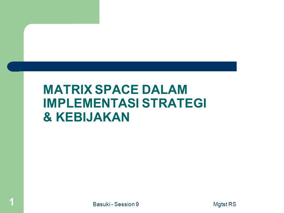 Basuki - Session 9Mgtst RS 1 MATRIX SPACE DALAM IMPLEMENTASI STRATEGI & KEBIJAKAN
