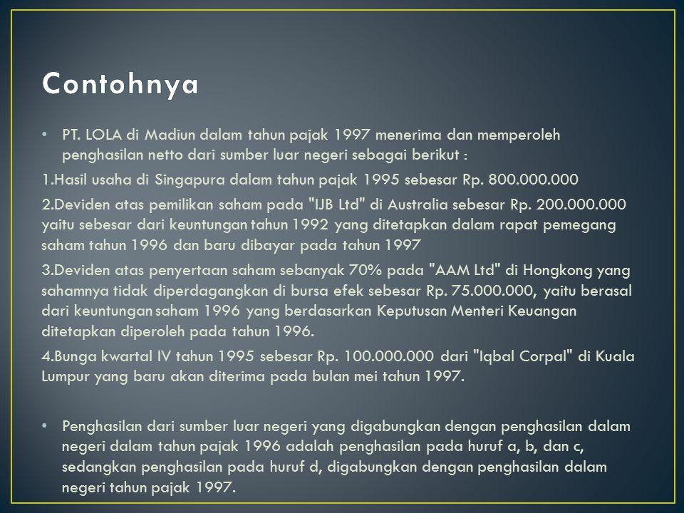 menghitung total penghasilan kena pajak penghasilan dari dalam negeri Rp400.000.000 penghasilan dari luar negeri Rp200.000.000 Penghasilan neto Rp600.000.000 menghitung total PPh terhutang 10% x Rp 50.000.000 = Rp 5.000.000 15% x Rp 50.000.000 = Rp 7.500.000 30% x Rp500.000.000 = Rp150.000.000 Pajak terhutang = Rp162.500.000.menghitung PPh maksimum yang dapat dikreditkan (penghasilan LN : total penghasilan) x total PPh terutang (Rp200.000.000 : Rp600.000.000) x Rp162.500.000 = Rp54.166.666,61 menghitung PPh yang terutang atau dipotong di LN: 20% x Rp200.000.000 = Rp40.000.000 Dari perhitungan tersebut di atas kredit pajak LN yang diperbolehkan adalah sebesar Rp40.000.000 atau sebesar PPh yang terutang atau dibayar di LN.