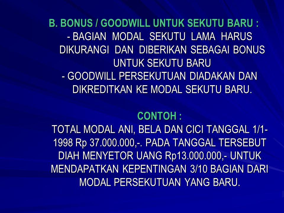 METODE GOODWILL : TOTAL MODAL SEKUTU LAMA DAN BARU = Rp 13.000.000 x 100/25 = Rp 52.000.000,- TOTAL MODAL SEKUTU LAMA DAN BARU YG DISETO = Rp 50.000.0