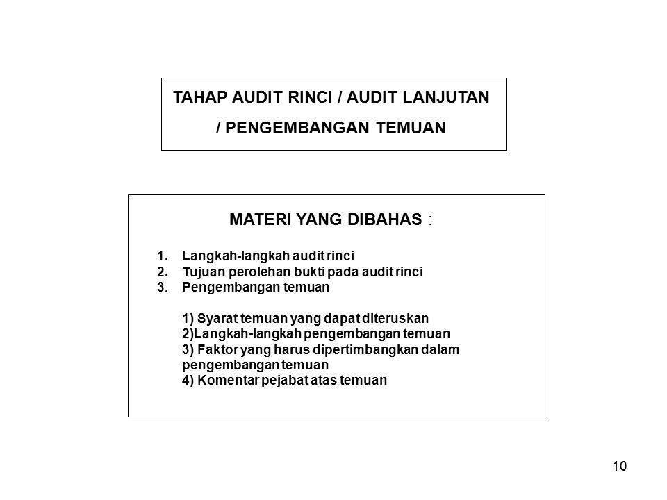 10 1.Langkah-langkah audit rinci 2.Tujuan perolehan bukti pada audit rinci 3.Pengembangan temuan 1) Syarat temuan yang dapat diteruskan 2)Langkah-lang