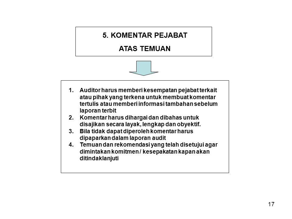 17 1.Auditor harus memberi kesempatan pejabat terkait atau pihak yang terkena untuk membuat komentar tertulis atau memberi informasi tambahan sebelum