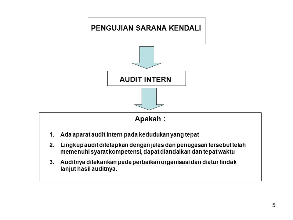 5 PENGUJIAN SARANA KENDALI AUDIT INTERN 1.Ada aparat audit intern pada kedudukan yang tepat 2.Lingkup audit ditetapkan dengan jelas dan penugasan ters