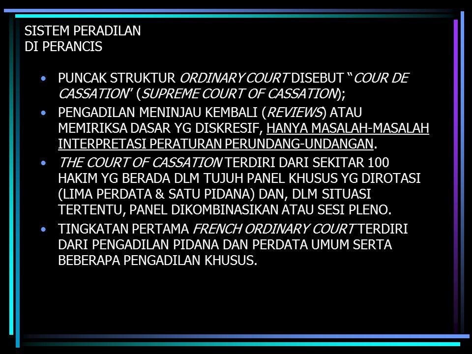 SISTEM PERADILAN DI PERANCIS PUNCAK STRUKTUR ORDINARY COURT DISEBUT COUR DE CASSATION (SUPREME COURT OF CASSATION); PENGADILAN MENINJAU KEMBALI (REVIEWS) ATAU MEMIRIKSA DASAR YG DISKRESIF, HANYA MASALAH-MASALAH INTERPRETASI PERATURAN PERUNDANG-UNDANGAN.