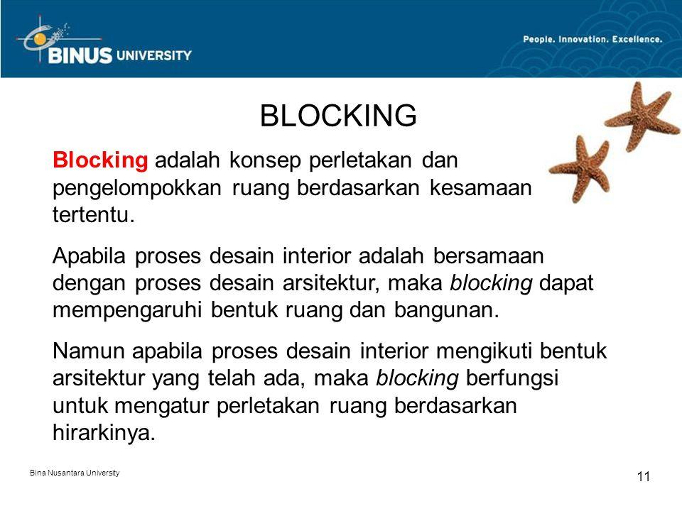 Bina Nusantara University 11 BLOCKING Blocking adalah konsep perletakan dan pengelompokkan ruang berdasarkan kesamaan tertentu. Apabila proses desain