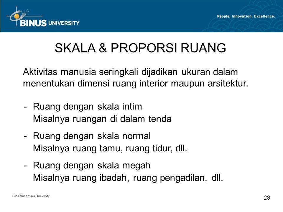 Bina Nusantara University 23 SKALA & PROPORSI RUANG Aktivitas manusia seringkali dijadikan ukuran dalam menentukan dimensi ruang interior maupun arsitektur.
