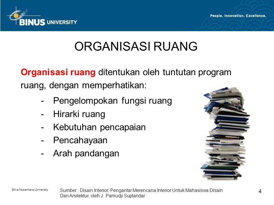 Bina Nusantara University 4 ORGANISASI RUANG Organisasi ruang ditentukan oleh tuntutan program ruang, dengan memperhatikan: -Pengelompokan fungsi ruan
