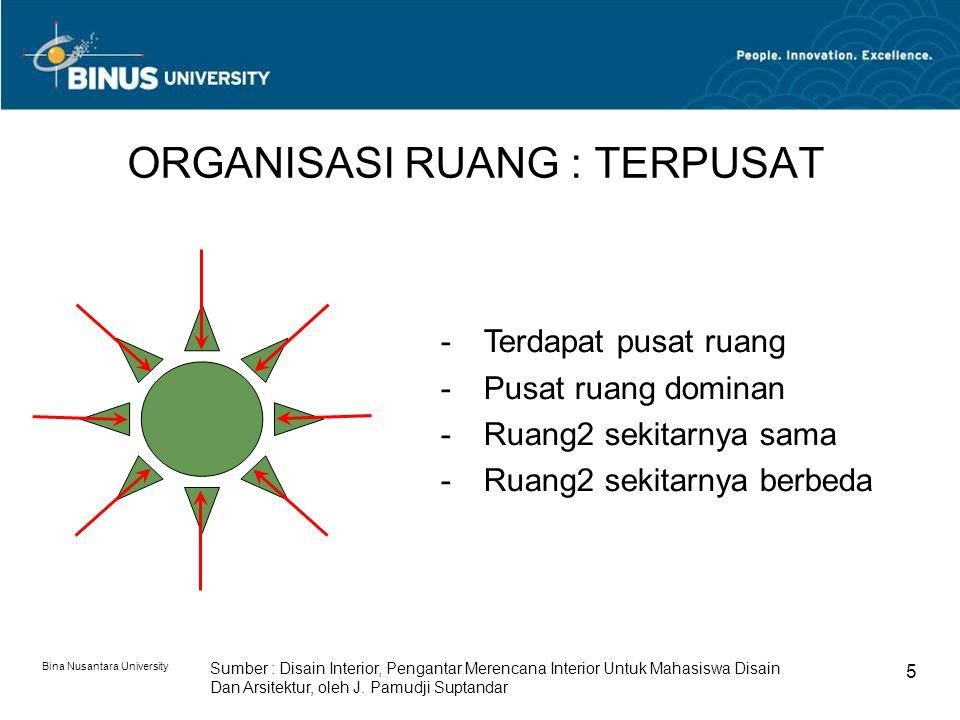 Bina Nusantara University 5 ORGANISASI RUANG : TERPUSAT Sumber : Disain Interior, Pengantar Merencana Interior Untuk Mahasiswa Disain Dan Arsitektur, oleh J.