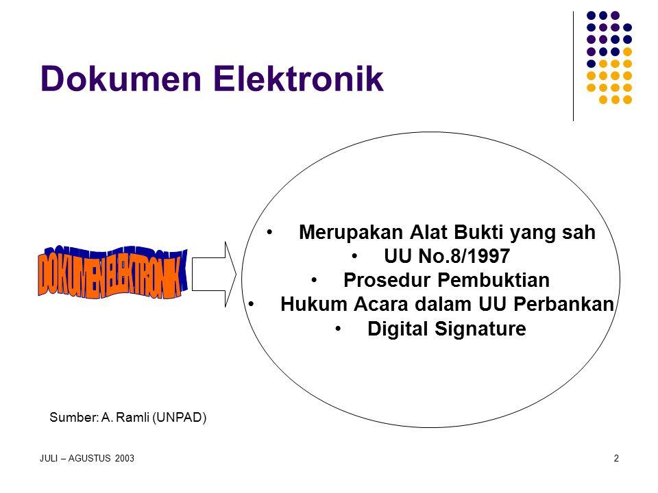 JULI – AGUSTUS 20032 Dokumen Elektronik Merupakan Alat Bukti yang sah UU No.8/1997 Prosedur Pembuktian Hukum Acara dalam UU Perbankan Digital Signatur