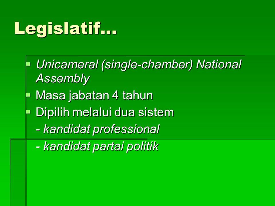 Legislatif...  Unicameral (single-chamber) National Assembly  Masa jabatan 4 tahun  Dipilih melalui dua sistem - kandidat professional - kandidat p