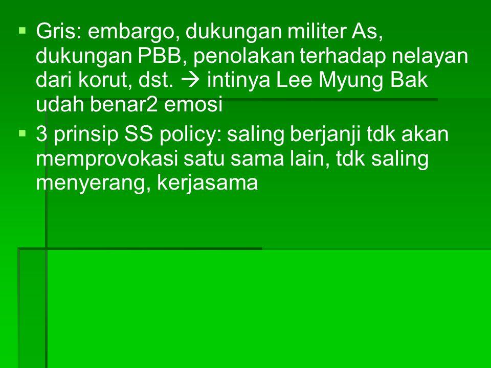   Gris: embargo, dukungan militer As, dukungan PBB, penolakan terhadap nelayan dari korut, dst.  intinya Lee Myung Bak udah benar2 emosi   3 prin