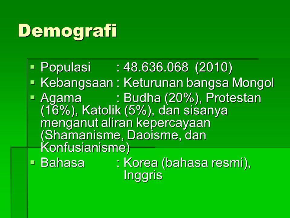 Demografi  Populasi: 48.636.068 (2010)  Kebangsaan: Keturunan bangsa Mongol  Agama: Budha (20%), Protestan (16%), Katolik (5%), dan sisanya menganu