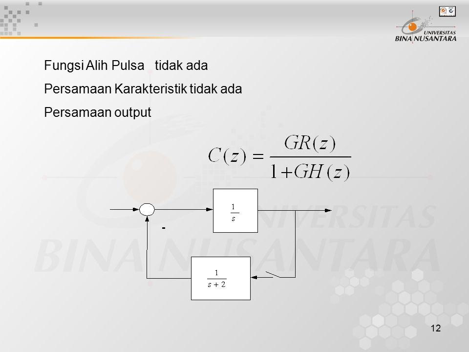 12 Fungsi Alih Pulsa tidak ada Persamaan Karakteristik tidak ada Persamaan output
