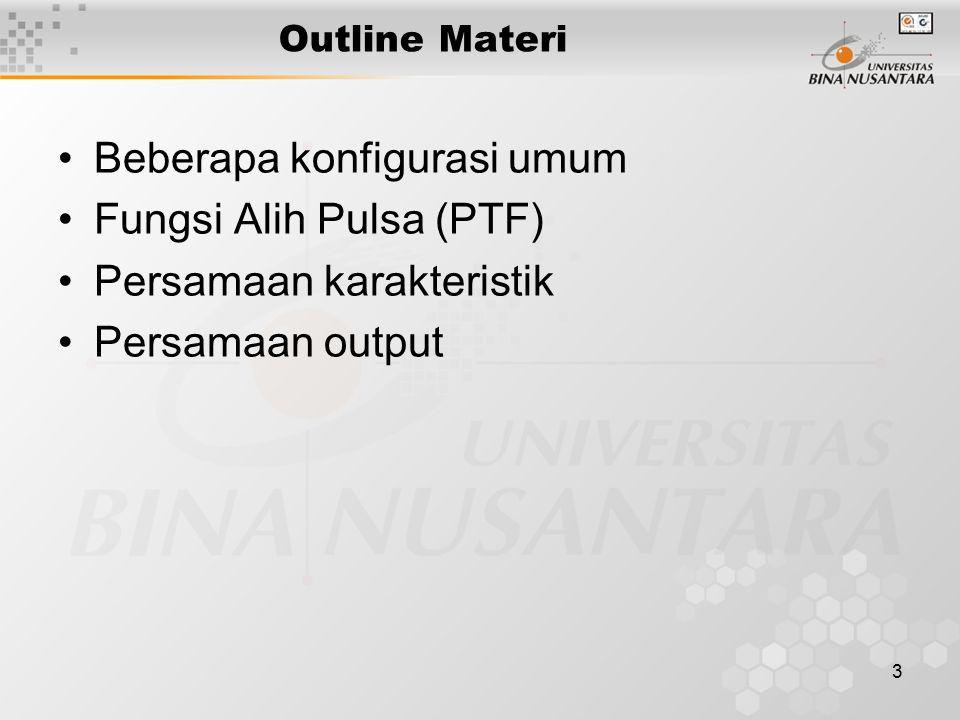 3 Outline Materi Beberapa konfigurasi umum Fungsi Alih Pulsa (PTF) Persamaan karakteristik Persamaan output