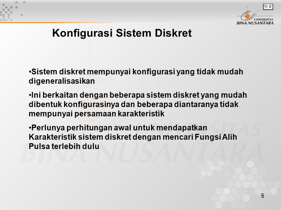 5 Konfigurasi Sistem Diskret Sistem diskret mempunyai konfigurasi yang tidak mudah digeneralisasikan Ini berkaitan dengan beberapa sistem diskret yang