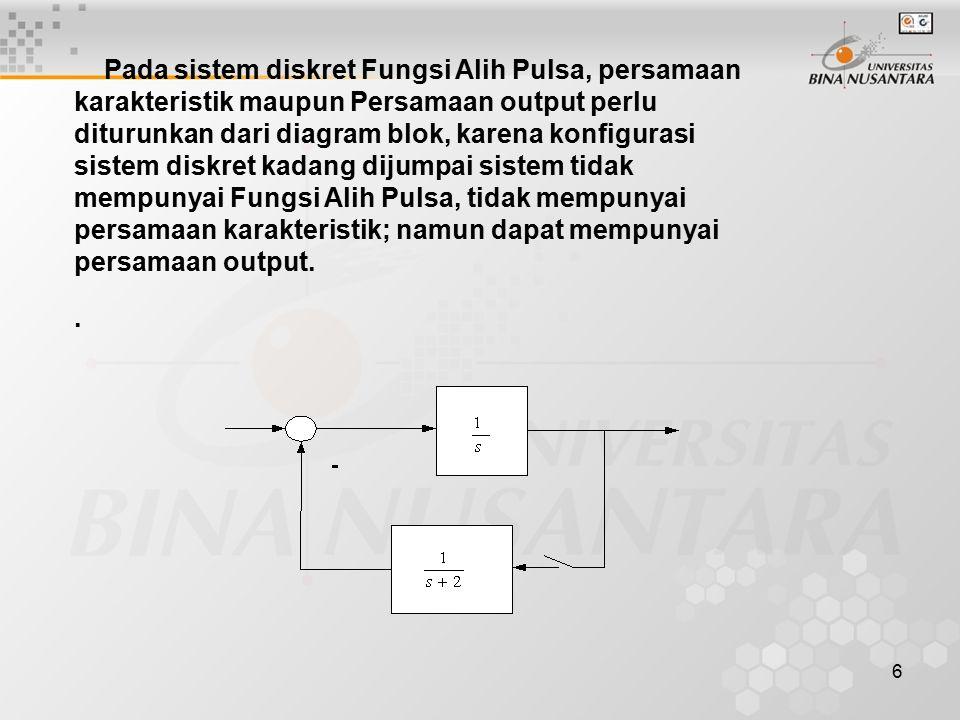 6 Pada sistem diskret Fungsi Alih Pulsa, persamaan karakteristik maupun Persamaan output perlu diturunkan dari diagram blok, karena konfigurasi sistem diskret kadang dijumpai sistem tidak mempunyai Fungsi Alih Pulsa, tidak mempunyai persamaan karakteristik; namun dapat mempunyai persamaan output.