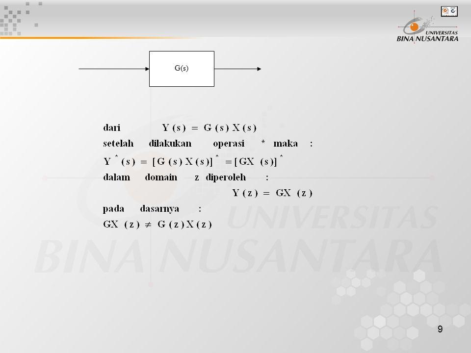 10 Konfigurasi umum sistem diskret. R(s) + C(s) C(z) - G(s) H(s)