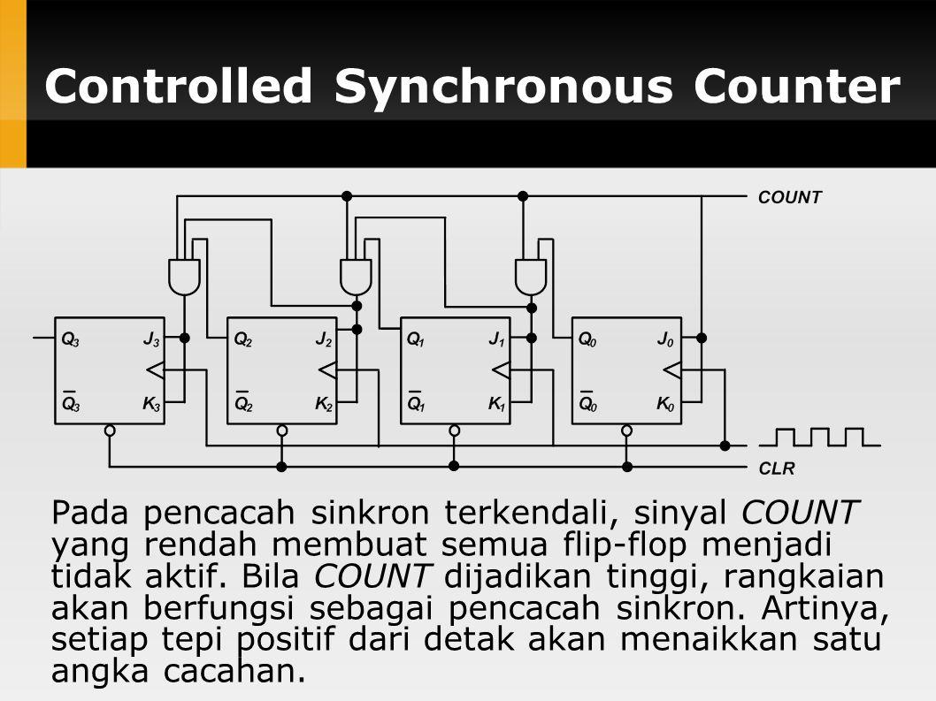 Controlled Synchronous Counter Pada pencacah sinkron terkendali, sinyal COUNT yang rendah membuat semua flip-flop menjadi tidak aktif. Bila COUNT dija