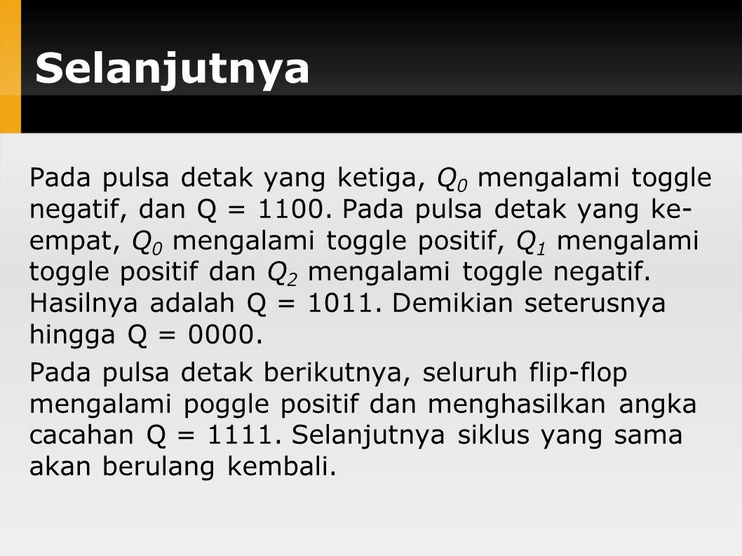 Selanjutnya Pada pulsa detak yang ketiga, Q 0 mengalami toggle negatif, dan Q = 1100. Pada pulsa detak yang ke- empat, Q 0 mengalami toggle positif, Q