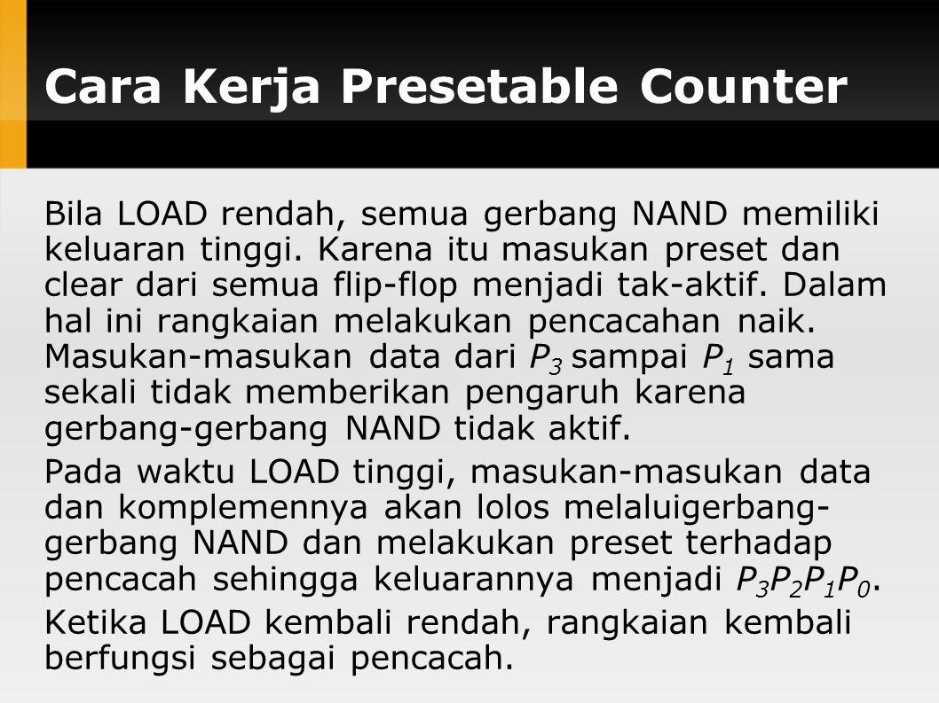 Cara Kerja Presetable Counter Bila LOAD rendah, semua gerbang NAND memiliki keluaran tinggi. Karena itu masukan preset dan clear dari semua flip-flop