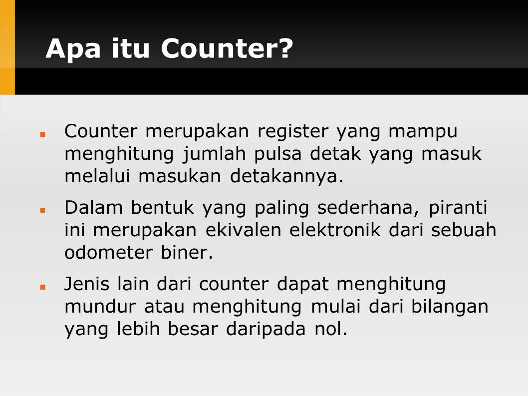Apa itu Counter? Counter merupakan register yang mampu menghitung jumlah pulsa detak yang masuk melalui masukan detakannya. Dalam bentuk yang paling s