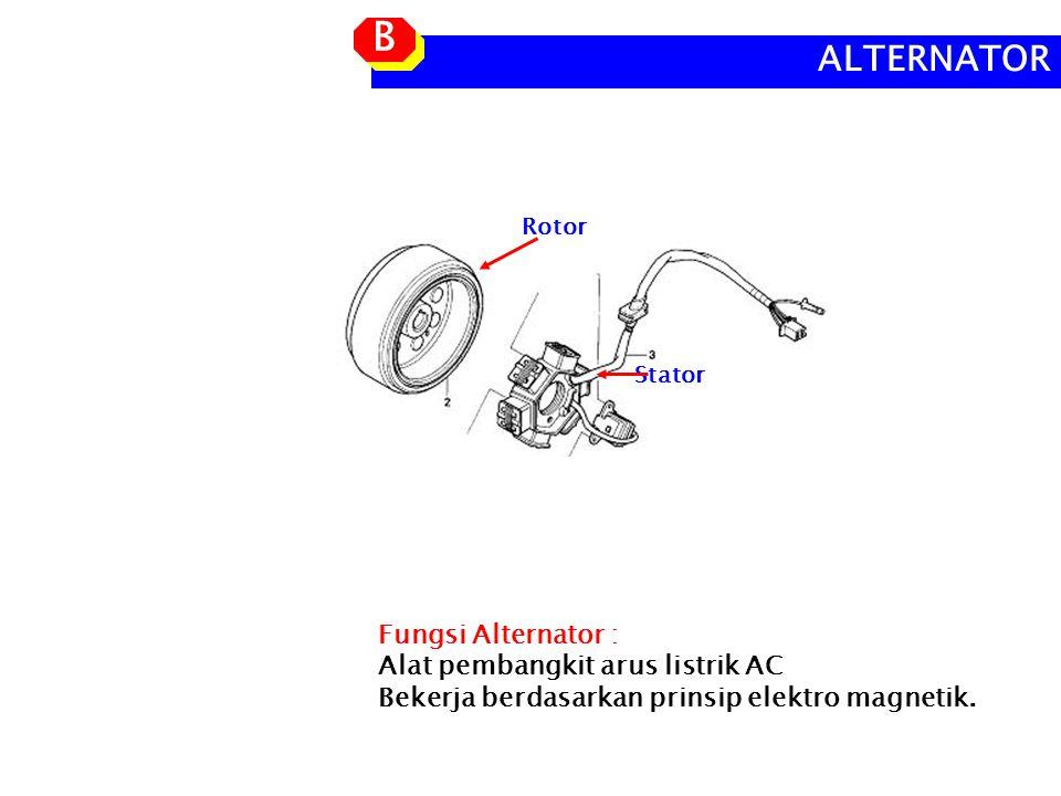 Fungsi Alternator : Alat pembangkit arus listrik AC Bekerja berdasarkan prinsip elektro magnetik.