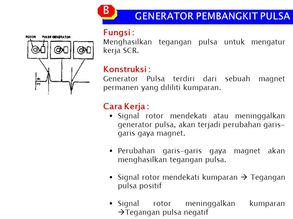 GENERATOR PEMBANGKIT PULSA B B Fungsi : Menghasilkan tegangan pulsa untuk mengatur kerja SCR.