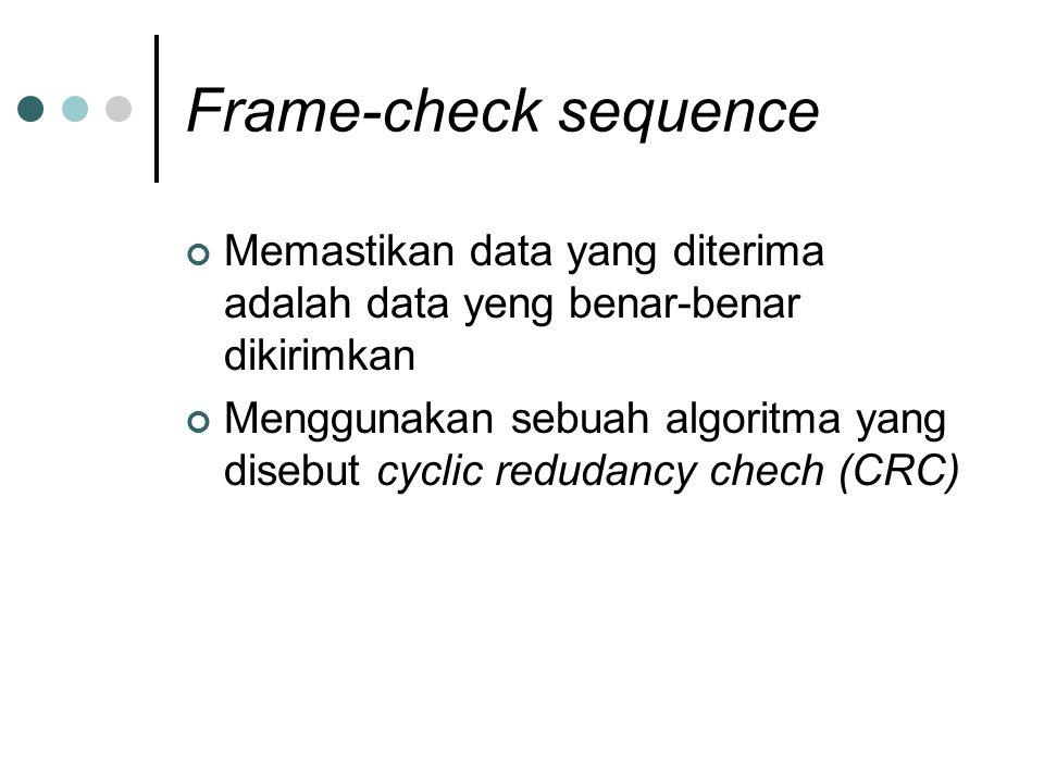 Frame-check sequence Memastikan data yang diterima adalah data yeng benar-benar dikirimkan Menggunakan sebuah algoritma yang disebut cyclic redudancy chech (CRC)