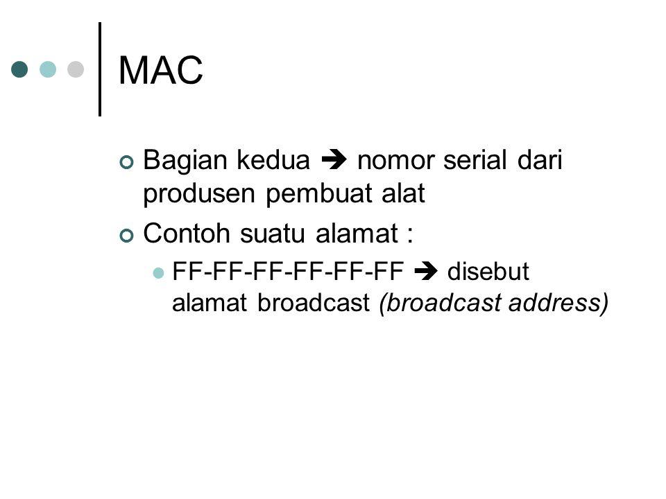 MAC Bagian kedua  nomor serial dari produsen pembuat alat Contoh suatu alamat : FF-FF-FF-FF-FF-FF  disebut alamat broadcast (broadcast address)