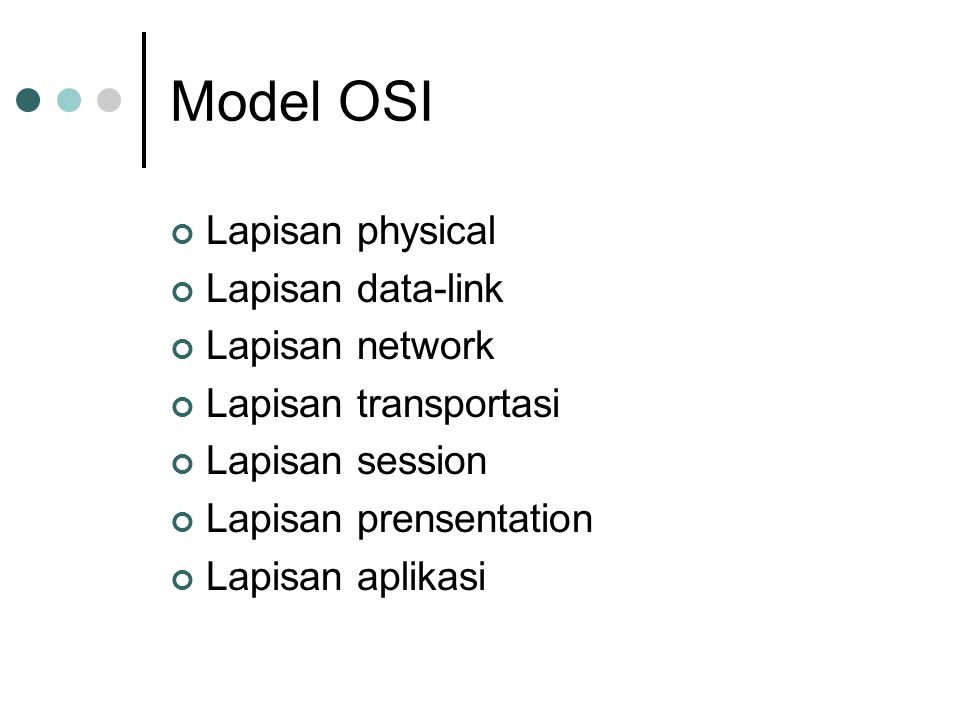 Model OSI Lapisan physical Lapisan data-link Lapisan network Lapisan transportasi Lapisan session Lapisan prensentation Lapisan aplikasi