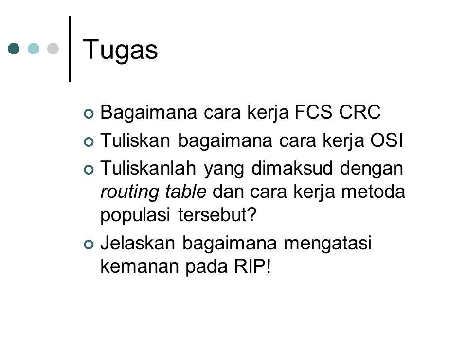 Tugas Bagaimana cara kerja FCS CRC Tuliskan bagaimana cara kerja OSI Tuliskanlah yang dimaksud dengan routing table dan cara kerja metoda populasi tersebut.
