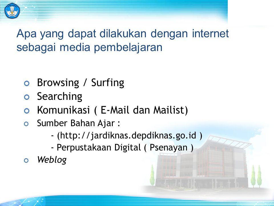 Apa yang dapat dilakukan dengan internet sebagai media pembelajaran Browsing / Surfing Searching Komunikasi ( E-Mail dan Mailist) Sumber Bahan Ajar :