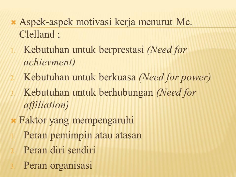  Aspek-aspek motivasi kerja menurut Mc. Clelland ; 1. Kebutuhan untuk berprestasi (Need for achievment) 2. Kebutuhan untuk berkuasa (Need for power)