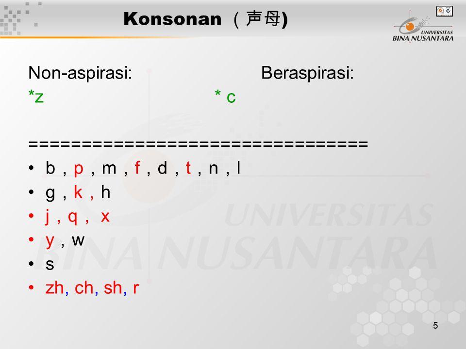5 Konsonan (声母 ) Non-aspirasi:Beraspirasi: *z* c ================================ b , p , m , f , d , t , n , l g , k , h j , q , x y , w s zh, ch, sh