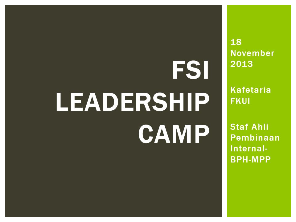 18 November 2013 Kafetaria FKUI Staf Ahli Pembinaan Internal- BPH-MPP FSI LEADERSHIP CAMP
