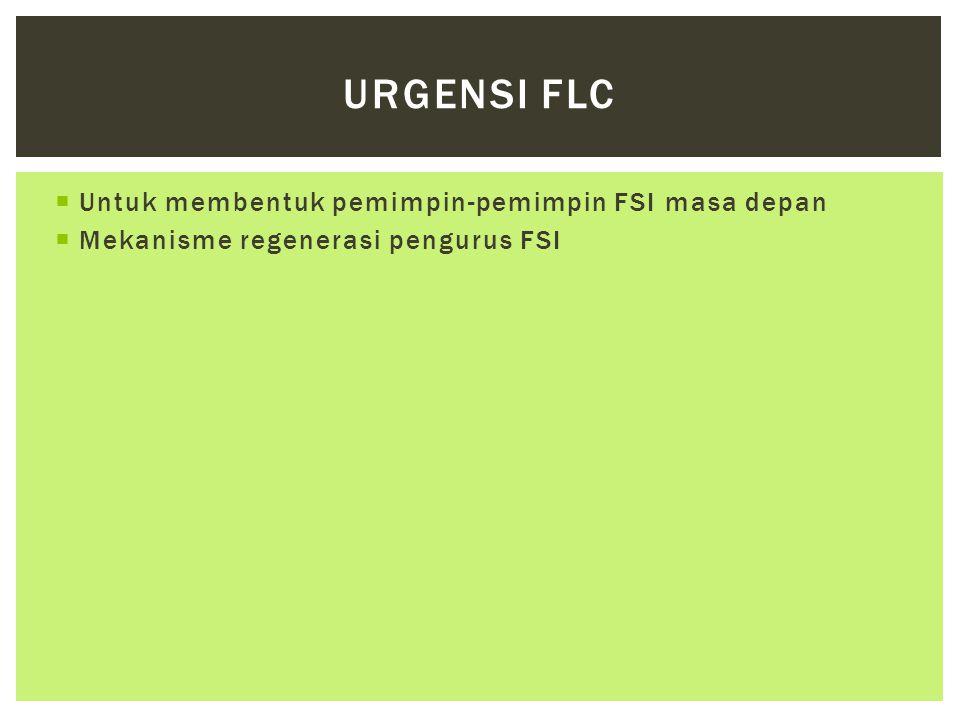  Untuk membentuk pemimpin-pemimpin FSI masa depan  Mekanisme regenerasi pengurus FSI URGENSI FLC