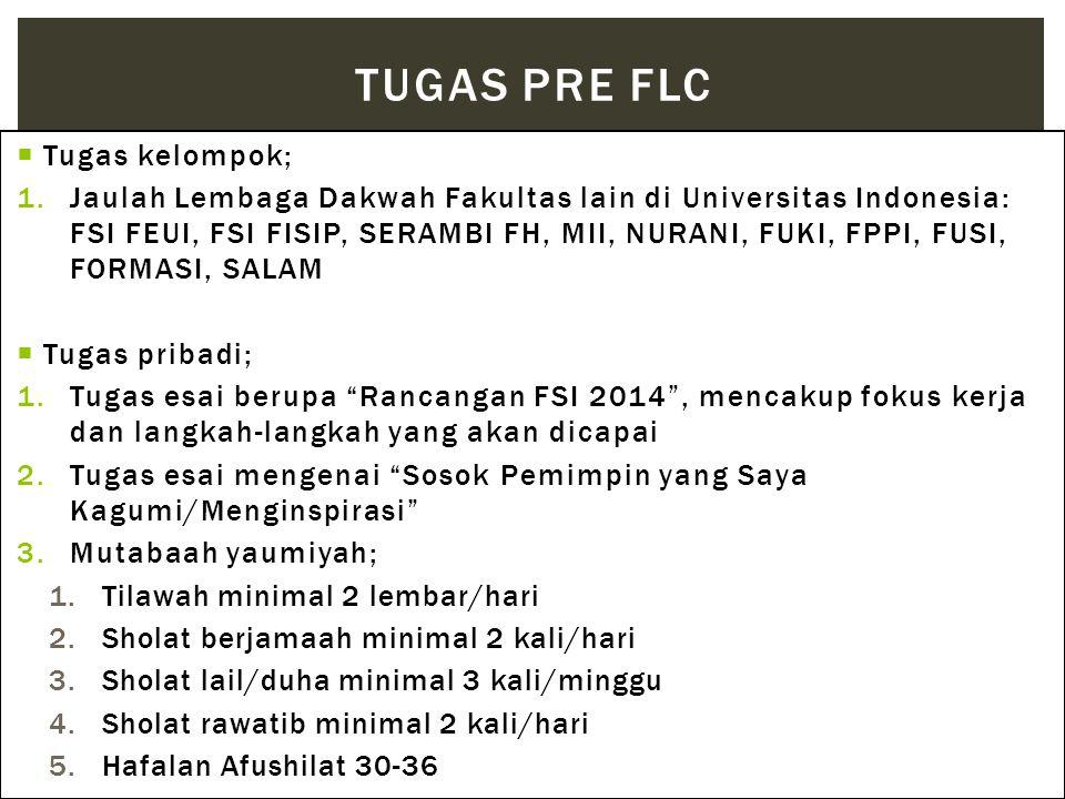  Tugas kelompok; 1.Jaulah Lembaga Dakwah Fakultas lain di Universitas Indonesia: FSI FEUI, FSI FISIP, SERAMBI FH, MII, NURANI, FUKI, FPPI, FUSI, FORM