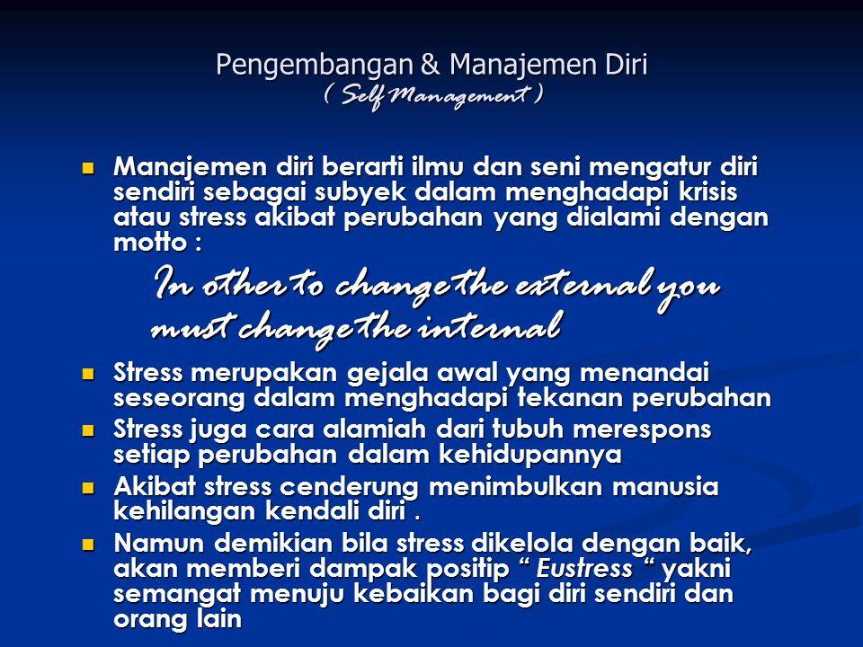 Pengembangan & Manajemen Diri ( Self Management ) Manajemen diri berarti ilmu dan seni mengatur diri sendiri sebagai subyek dalam menghadapi krisis at