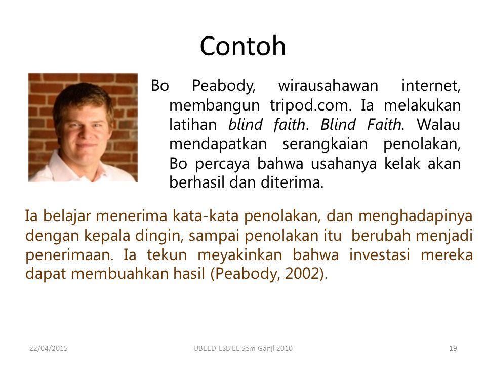 Contoh Bo Peabody, wirausahawan internet, membangun tripod.com.