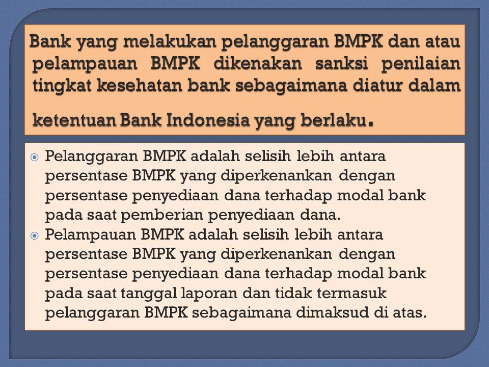  Pelanggaran BMPK adalah selisih lebih antara persentase BMPK yang diperkenankan dengan persentase penyediaan dana terhadap modal bank pada saat pemberian penyediaan dana.
