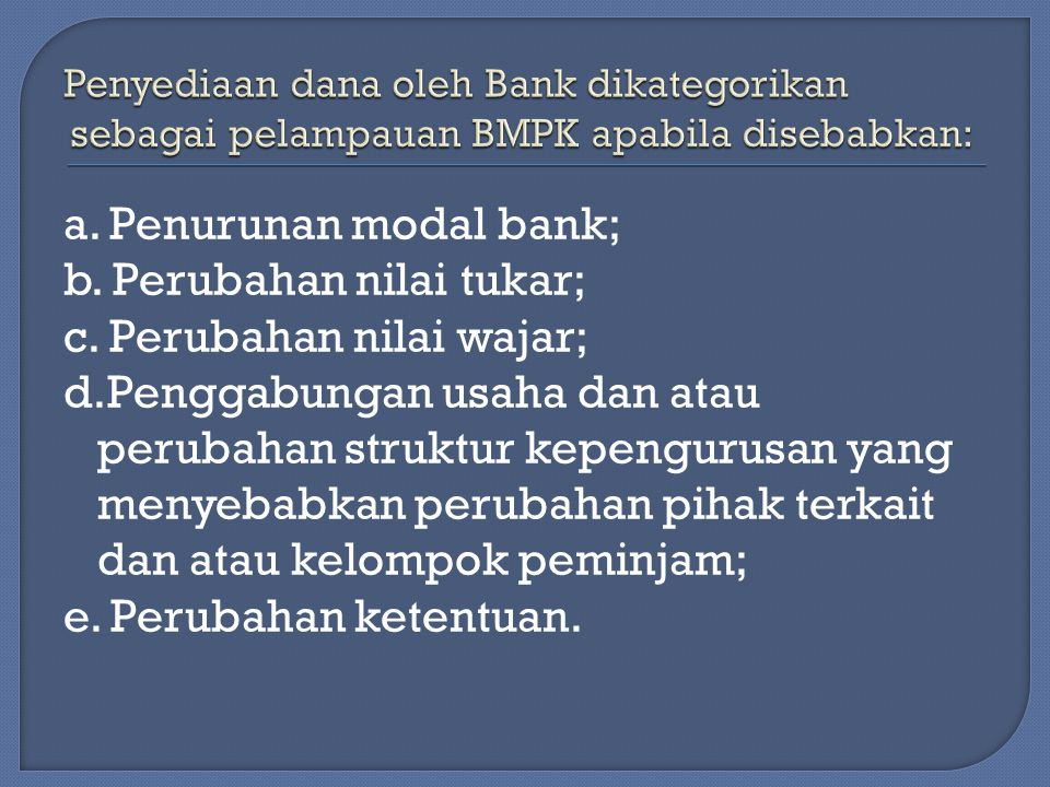 a.Penurunan modal bank; b. Perubahan nilai tukar; c.