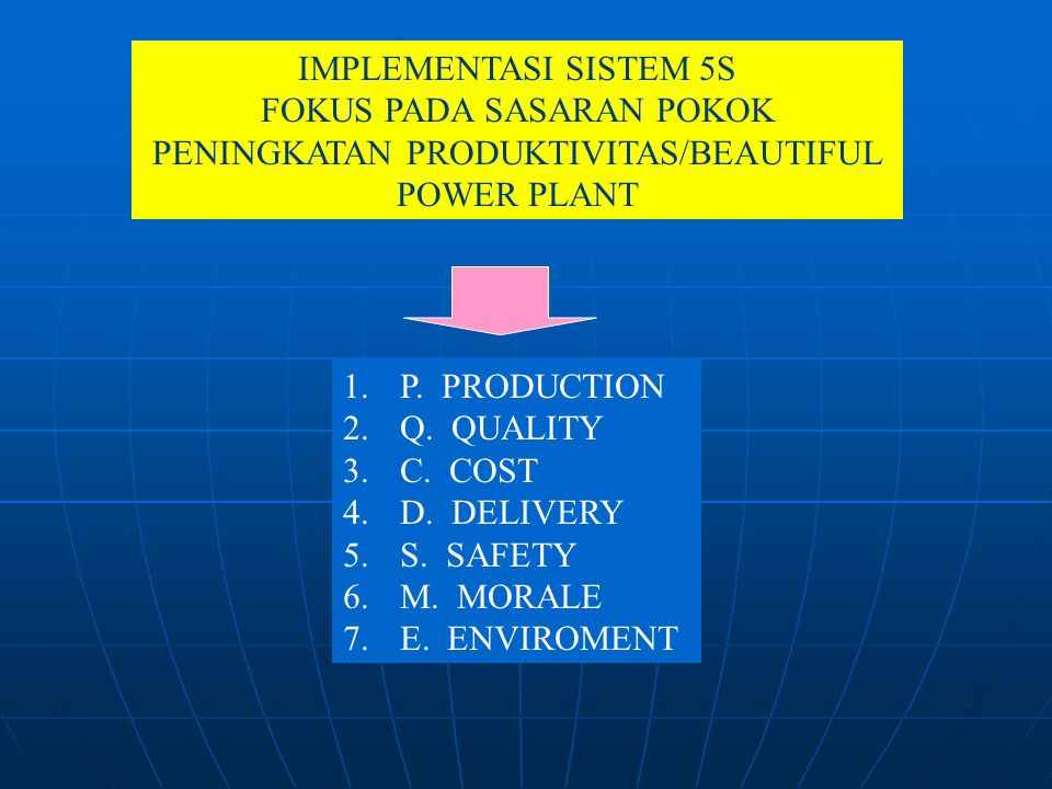 IMPLEMENTASI SISTEM 5S FOKUS PADA SASARAN POKOK PENINGKATAN PRODUKTIVITAS/BEAUTIFUL POWER PLANT 1. P. PRODUCTION 2. Q. QUALITY 3. C. COST 4. D. DELIVE