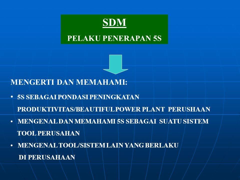 SDM PELAKU PENERAPAN 5S MENGERTI DAN MEMAHAMI: 5S SEBAGAI PONDASI PENINGKATAN PRODUKTIVITAS/BEAUTIFUL POWER PLANT PERUSHAAN MENGENAL DAN MEMAHAMI 5S S