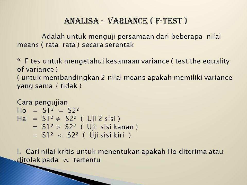 V. Keputusan : Ho ditolak karena Xc² > 12,592 ( 13,823 > 12,592 ) berarti Ha diterima VI. Kesimpulan : Karena Ho ditolak maka berarti bahwa ada pengar