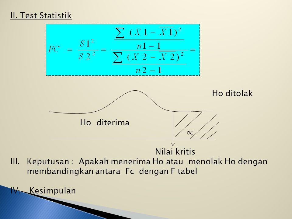 ANALISA - VARIANCE ( F-TEST ) Adalah untuk menguji persamaan dari beberapa nilai means ( rata-rata ) secara serentak * F tes untuk mengetahui kesamaan