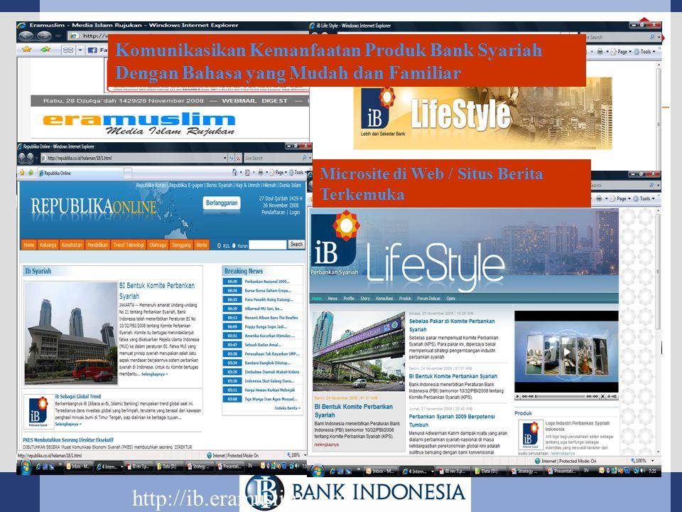http://ib.eramuslim.com/ Microsite di Web / Situs Berita Terkemuka Komunikasikan Kemanfaatan Produk Bank Syariah Dengan Bahasa yang Mudah dan Familiar